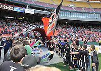 Flag bearer of D.C. United during an MLS match against the Chicago Fire on April 17 2010, at RFK Stadium in Washington D.C. Fire won 2-0.