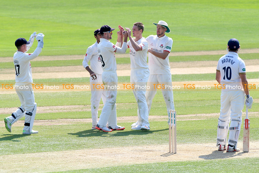 Joe Mennie of Lancashire celebrates with his team mates after taking the wicket of Nick Browne during Essex CCC vs Lancashire CCC, Specsavers County Championship Division 1 Cricket at The Cloudfm County Ground on 21st April 2018