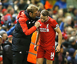 Jurgen Klopp manager of Liverpool talks to captain Jordan Henderson of Liverpool - English Premier League - Liverpool vs Manchester City - Anfield Stadium - Liverpool - England - 3rd March 2016 - Picture Simon Bellis/Sportimage