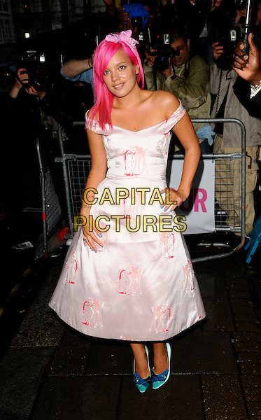 LILY ALLEN.Outside arrivals at The Glamour Women of the Year Awards 2008, Berkeley Square Gardens, London, England. .June 3rd, 2008.full length dyed pink hair white print dress blue shoes off the shoulder bow hairband blue satin silk bambi print blood hand on hip .CAP/CAN.©Can Nguyen/Capital Pictures.