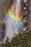 Close-up of rainbow in the spray of Upper Yosemite Falls.