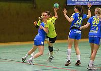 Celine Schwarzkopf (SG WBW) versucht sich durchzusetzen - 10.03.2019: SG Weiterstadt/Braunshardt/Worfelden vs. HC Leipzig, Sporthalle Braunshardt