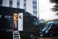 already well before the riders have their breakfast, team SKY chef Henrik Orre is at work in the team's dedicated foodtruck<br /> <br /> Team SKY foodtruck<br /> 2015 Vuelta &agrave; Espana