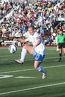 Chicago Red Stars midfielder/forward Lori Chalupny (17) stops a high pass near the Breaker's goal.  In a National Women's Soccer League Elite (NWSL) match, the Boston Breakers defeated  Chicago Red Stars 4-1, at the Dilboy Stadium on May 4, 2013.