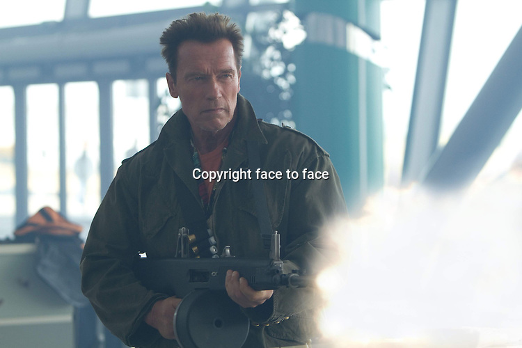 Trench (Arnold Schwarzenegger) in The Expendables 2 (German title: THE EXPENDABLES 2)...- Editorial Use Only -..Supplied by face to face