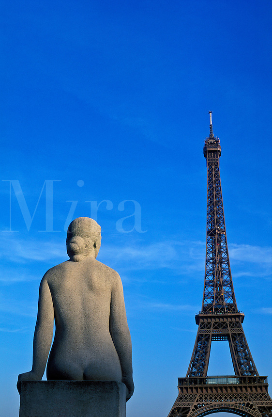 France, Paris, statue of woman at the Trocadero facing the Eiffel Tower