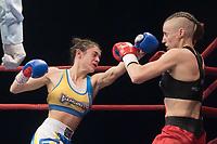 Antonina Osetska (L) of Ukraine and Renata Rakoczi (R) of Hungary fight during the WAKO  women's kick-boxing 55kg World Championship Final in Budapest, Hungary on Nov. 16, 2019. ATTILA VOLGYI