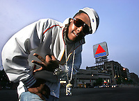 (5/30/06  Boston, MA ) Boston rapper Smoke Bulga poses for a portrait in Kenmore Square.