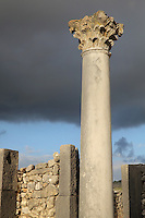 Column with Corinthian capital in the atrium of the House of the Dog, where a bronze canine statue was found, Volubilis, Northern Morocco. Volubilis was founded in the 3rd century BC by the Phoenicians and was a Roman settlement from the 1st century AD. Volubilis was a thriving Roman olive growing town until 280 AD and was settled until the 11th century. The buildings were largely destroyed by an earthquake in the 18th century and have since been excavated and partly restored. Volubilis was listed as a UNESCO World Heritage Site in 1997. Picture by Manuel Cohen