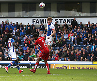Blackburn Rovers' Sam Gallagher rises above Bristol City's Mark Little and scores his sides equalising goal to make the score 1-1<br /> <br /> Photographer Stephen White/CameraSport<br /> <br /> The EFL Sky Bet Championship - Blackburn Rovers v Bristol City - Monday 17th April 2017 - Ewood Park - Blackburn<br /> <br /> World Copyright &copy; 2017 CameraSport. All rights reserved. 43 Linden Ave. Countesthorpe. Leicester. England. LE8 5PG - Tel: +44 (0) 116 277 4147 - admin@camerasport.com - www.camerasport.com