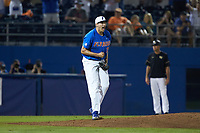 Florida Gators pitcher Alex Faedo (21) reacts after getting the final out of the game against the Wake Forest Demon Deacons in Game Three of the Gainesville Super Regional of the 2017 College World Series at Alfred McKethan Stadium at Perry Field on June 12, 2017 in Gainesville, Florida.  The Gators defeated the Demon Deacons 3-0 to advance to the College World Series in Omaha, Nebraska.   (Brian Westerholt/Four Seam Images)