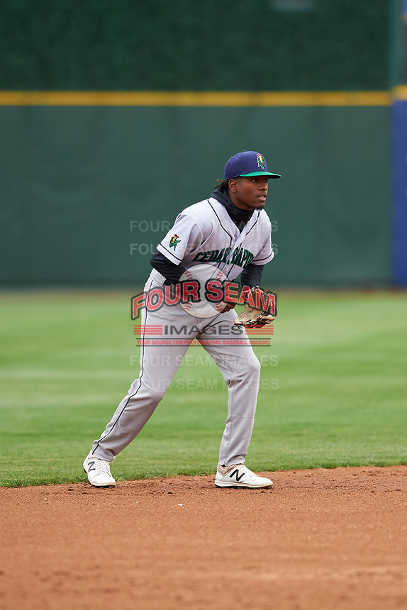 Cedar Rapids Kernels shortstop Yeltsin Encarnacion (43) during a Midwest League game against the South Bend Cubs at Four Winds Field on May 8, 2019 in South Bend, Indiana. South Bend defeated Cedar Rapids 2-1. (Zachary Lucy/Four Seam Images)