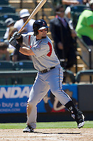 Nashville Sounds outfielder Sean Halton (7) at bat against the Round Rock Express in the Pacific Coast League baseball game on May 5, 2013 at the Dell Diamond in Round Rock, Texas. Round Rock defeated Nashville 5-1. (Andrew Woolley/Four Seam Images).