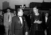 FILE PHOTO -  Le  Ministre Michel Dupuis et<br /> Carole Bouquet a<br /> l'ouverture du Festival des Films du Monde, a la Place des arts, le 25 aout 1994.<br /> <br /> PHOTO : Pierre Roussel<br />  - Agence Quebec Presse