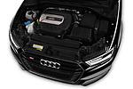 Car stock 2018 Audi S3 Sportback Base 5 Door Hatchback engine high angle detail view