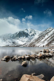 USA, California, Mammoth, a view of the snow covered mountains behind Convict Lake