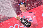 Race leader Bob Jungels (LUX) Quick-Step Floors retains the Maglia Rosa at the end of Stage 7 of the 100th edition of the Giro d'Italia 2017, running 224km from Castrovillari to Alberobello, Italy. 12th May 2017.<br /> Picture: LaPresse/Gian Mattia D'Alberto | Cyclefile<br /> <br /> <br /> All photos usage must carry mandatory copyright credit (&copy; Cyclefile | LaPresse/Gian Mattia D'Alberto)