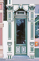 Ferndale CA:  Doorway, 366 Main St., Store & Office Building, 1880's.   Photo '83.