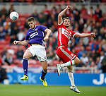 Jack O'Connell of Sheffield Utd and Patrick Bamford of Middlesbrough during the Championship match at the Riverside Stadium, Middlesbrough. Picture date: August 12th 2017. Picture credit should read: Simon Bellis/Sportimage