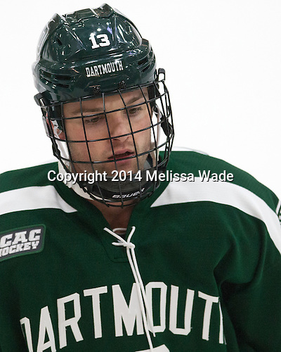 Brett Patterson (Dartmouth - 13) - The Harvard University Crimson tied the visiting Dartmouth College Big Green 3-3 in both team's first game of the season on Saturday, November 1, 2014, at Bright-Landry Hockey Center in Cambridge, Massachusetts.