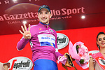 Elia Viviani (ITA) Quick-Step Floors retains the Maglia Ciclamino after winning Stage 17 his 4th stage win of the 2018 Giro d'Italia, The Franciacorta Stage running 155km from Riva del Garda to Iseo, Italy. 23rd May 2018.<br /> Picture: LaPresse/Gian Mattia D'Alberto | Cyclefile<br /> <br /> <br /> All photos usage must carry mandatory copyright credit (&copy; Cyclefile | LaPresse/Gian Mattia D'Alberto)