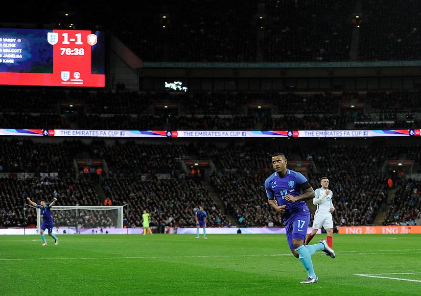 Holland's Luciano Narsingh  celebrates scoring his sides winning goal <br /> <br /> Photographer AshleyWestern/CameraSport<br /> <br /> Football - Breast Cancer Care International Friendly - England v Holland - Tuesday 29th March 2016 - Wembley Stadium - London<br /> <br /> &copy; CameraSport - 43 Linden Ave. Countesthorpe. Leicester. England. LE8 5PG - Tel: +44 (0) 116 277 4147 - admin@camerasport.com - www.camerasport.com