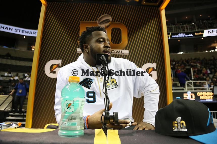Kawann Short (Panthers) - Teamsession Carolina Panthers bei der Super Bowl 50 Opening Night, SAP Center San Jose