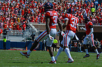 A.J. Moore celebrates with Jaylon Jones after a tackle during the game against UT Martin Sat., Sept. 9, 2017. Ole Miss wins 45-23. Photo by Marlee Crawford/Ole Miss Communications