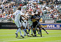 June 20, 2009:  Earthquakes and Galaxy fight for the ball which was kicked from corner at Coliseum in Oakland, California. San Jose Earthquakes defeated Los Angeles, 2-1