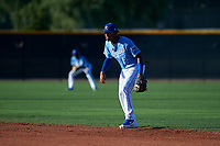 AZL Royals second baseman Herard Gonzalez (2) during an Arizona League game against the AZL Brewers Blue at Surprise Stadium on June 18, 2019 in Surprise, Arizona. AZL Royals defeated AZL Brewers Blue 12-7. (Zachary Lucy/Four Seam Images)