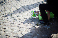 Alberto Bettiol (ITA/Cannondale) crashed on the cobbles of the Stationberg<br /> <br /> E3 - Harelbeke 2016