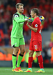 Simon Mignolet of Liverpool and Lucas Leiva of Liverpool enjoy the win during the Premier League match at Anfield Stadium, Liverpool. Picture date: September 10th, 2016. Pic Simon Bellis/Sportimage