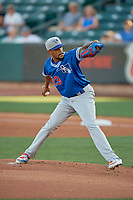 Oklahoma City Dodgers starting pitcher Dennis Santana (23) delivers a pitch to the plate against the Salt Lake Bees  at Smith's Ballpark on August 1, 2019 in Salt Lake City, Utah. The Bees defeated the Dodgers 14-4. (Stephen Smith/Four Seam Images)