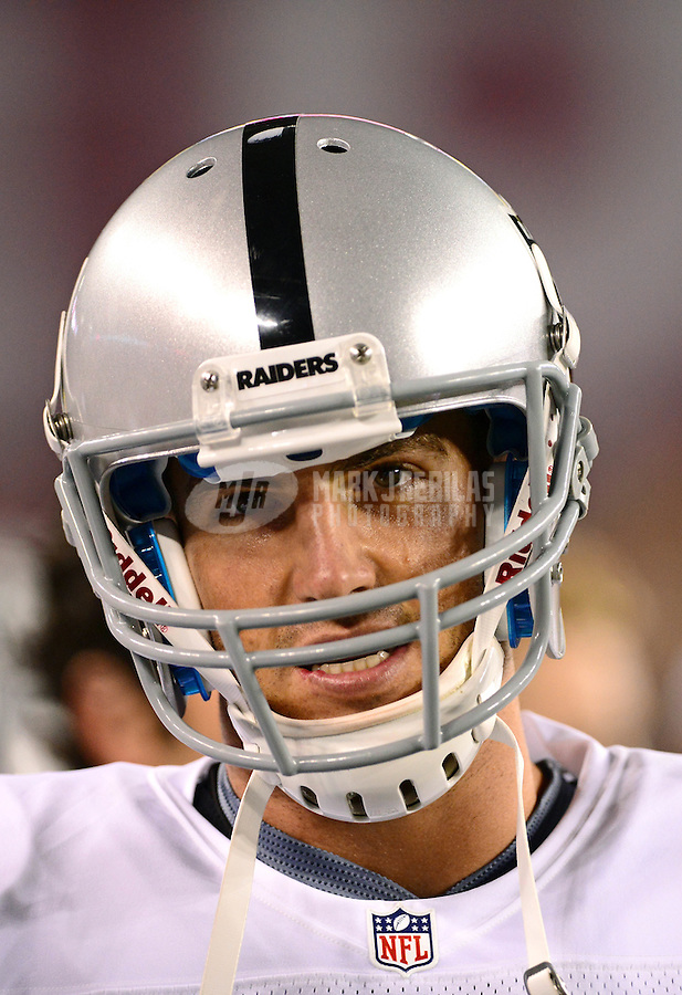 Aug. 17, 2012; Glendale, AZ, USA; Oakland Raiders quarterback (10) Kyle Newhall-Caballero against the Arizona Cardinals during a preseason game at University of Phoenix Stadium. The Cardinals defeated the Raiders 31-27. Mandatory Credit: Mark J. Rebilas-