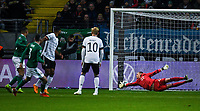 19th November 2019, Frankfurt, Germany; 2020 European Championships qualification, Germany versus Northern Ireland;  Michael Smith scores for 0-1 past Marc Andre ter Stegen Germany