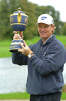 THOMASTOWN, IRELAND. Ernie Els winner of the American Express Championship at the Mount Juliet Golf Club on October 3rd, 2004 in Thomastown, Ireland ..Photo AFP/NEWSFILE/FRAN CAFFREY..(Photo credit should read FRAN CAFFREY/NEWSFILE/AFP)...This Picture has been sent you under the condtions enclosed by:.Newsfile Ltd..the Studio,.Millmount Abbey,.Drogheda,.Co Meath..Ireland..Tel: +353(0)41-9871240.Fax: +353(0)41-9871260.GSM: +353(0)86-2500958.email: pictures@newsfile.ie.www.newsfile.ie.FTP: 193.120.102.198..This picture is from Fran Caffrey@newsfile.ie