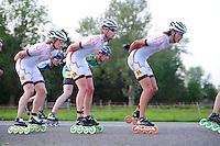 INLINE-SKATEN: STEENWIJK: Gagelsweg (start/finish), Schansweg, Meppelerweg, KPN Inline Cup, Klim van Steenwijk, 02-05-2012, Sjaak Schipper  (#55), Jan van Loon (#34), Mark Horsten (#31), ©foto Martin de Jong