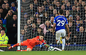 17th March 2019, Goodison Park, Liverpool, England; EPL Premier League Football, Everton versus Chelsea; Chelsea goalkeeper Kepa Arrizabalaga saves at the feet of Dominic Calvert-Lewin of Everton