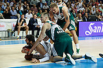 Basketball Real Madrid´s Bourousis (L) and Zalgiris Kaunas´s Javtokas and Jankunas during Euroleague basketball match in Madrid, Spain. October 17, 2014. (ALTERPHOTOS/Victor Blanco)