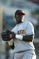 Elijah Dukes of the Bakersfield Blaze before a 2004 season California League game against the Rancho Cucamonga Quakes in Rancho Cucamonga, California. (Larry Goren/Four Seam Images)