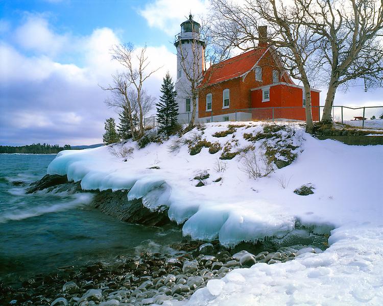 Winter scene at Eagle Harbor Lighthouse on Lake Superior; Keweenah Peninsula, MI