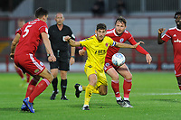 Ched Evans of Fleetwood Town battles for the ball with Mark Hughes of Accrington Stanley during the The Leasing.com Trophy match between Accrington Stanley and Fleetwood Town at the Fraser Eagle Stadium, Accrington, England on 3 September 2019. Photo by Greig Bertram / PRiME Media Images.
