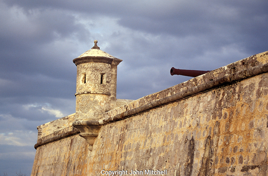 The ramparts of Fuerte San Miguel, Campeche, Mexico. This Spanish Colonial fort was built to protect the city of Campeche from naval attack. It now houses the Museo de Cultura Maya, an archaeological museum with Mayan artifacts from the state of Campeche.