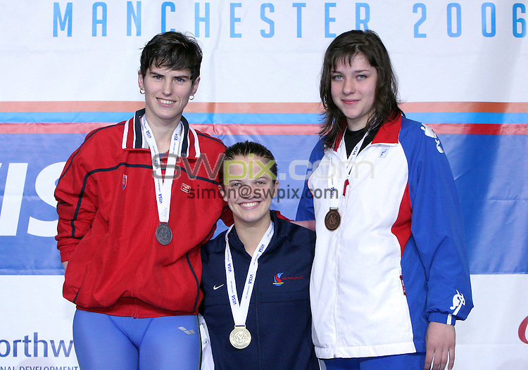 PICTURE BY VAUGHN RIDLEY/SWpix.com -  Swimming - Visa Paralympic World Cup - Manchester Aquatics Centre - Manchester, England - 06/05/06...? Simon Wilkinson - 07811 267706...Slovakia's Margita Prokeinova (L), USA's Erin Popovich (C) and Russia's Oxana Guseva (R) pose with their medals from the Womens S7 50m Butterfly Final.