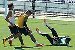 Getafe's Jaime Mata, Mathias Olivera and David Soria during training session. June 5,2020.(ALTERPHOTOS/Acero)