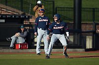 Jacob Campbell (9) of the Illinois Fighting Illini takes his lead off of third base against the Coastal Carolina Chanticleers at Springs Brooks Stadium on February 22, 2020 in Conway, South Carolina. The Fighting Illini defeated the Chanticleers 5-2. (Brian Westerholt/Four Seam Images)