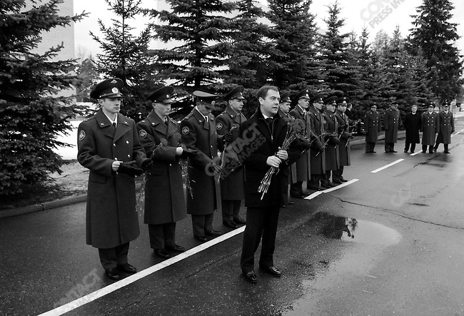 At the base of the Tamansky Motorised Infantry Division, Dimitri Medvedev, a candidate in the upcoming Russian presidential elections, came to mark the holiday of the Defender of the Fatherland, and to talk to a group of officers about their life in the army. Moscow, Russia, February 23, 2008.