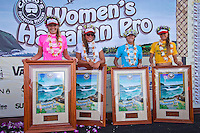 Stephanie Gilmore (AUS), Tyler Wright (AUS), Jacqueline Silva (BRA) and Alana Blanchard (HAW).  Haleiwa Hawaii, (Wednesday November 16, 2010) .In 26 years of Vans Triple Crown competition at Haleiwa, no-one can recall ever running three consecutive days, but that was the scenario today as a  rising swell poured in for the Women's Cholo's Hawaiian Pro  final. A crisp offshore breeze, clear skies and  smooth waves was the stage for the Cholo's Women's final won by defending Triple Crown Champion Stephanie Gilmore (AUS) with Tyler Wright (AUS) in 2nd, Alana Blanchard (HAW) in 3rd and Jacqueline Silva (BRA) in 4th place. All three place getters qualified for next years WCT Women's Tour..Photo: joliphotos.com