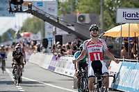 Jonas Rickaert (BEL/Corendon-Circus) crossing the finish line cheering for his teammate's Tim Merlier's win<br /> <br /> Belgian National Road Championships 2019 - Gent<br /> <br /> ©kramon