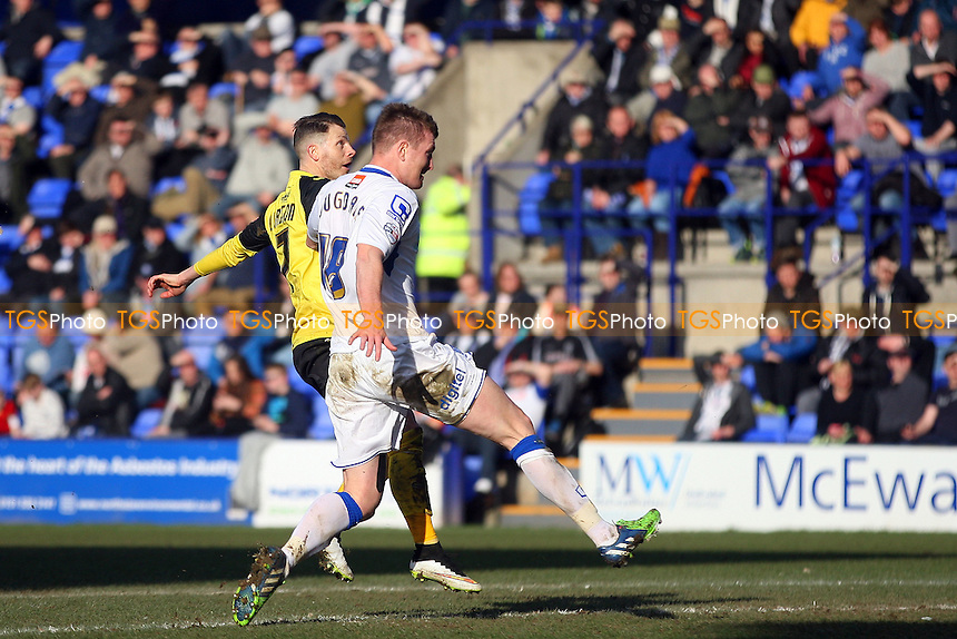 Jamie Cureton of Dagenham and Redbridge scores the opening goal - Tranmere Rovers vs Dagenham and Redbridge - SkyBet League Two football at the Prenton Park Stadium on  07/03/15 - MANDATORY CREDIT: Dave Simpson/TGSPHOTO - Self billing applies where appropriate - 0845 094 6026 - contact@tgsphoto.co.uk - NO UNPAID USE